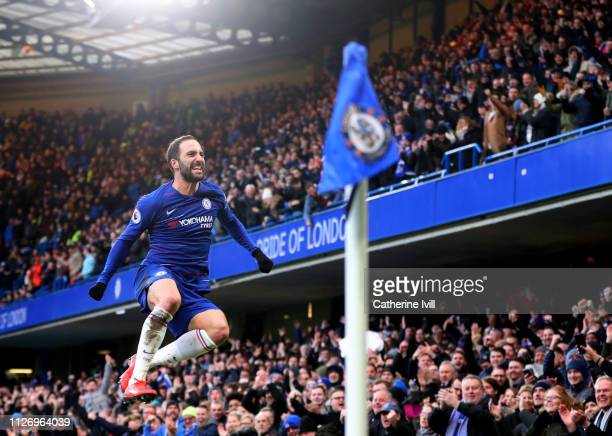 Gonzalo Higuain of Chelsea celebrates after he scores his teams first goal during the Premier League match between Chelsea FC and Huddersfield Town...