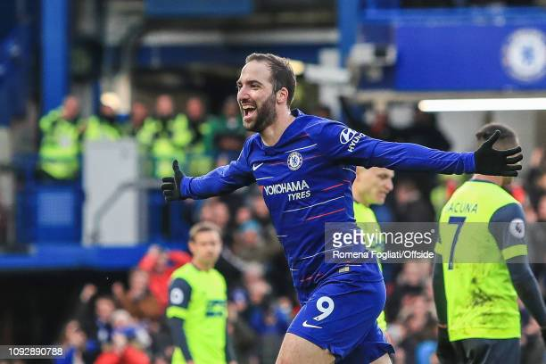 Gonzalo Higuain of Chelsea celebrates after making it 40 his second goal during the Premier League match between Chelsea FC and Huddersfield Town at...