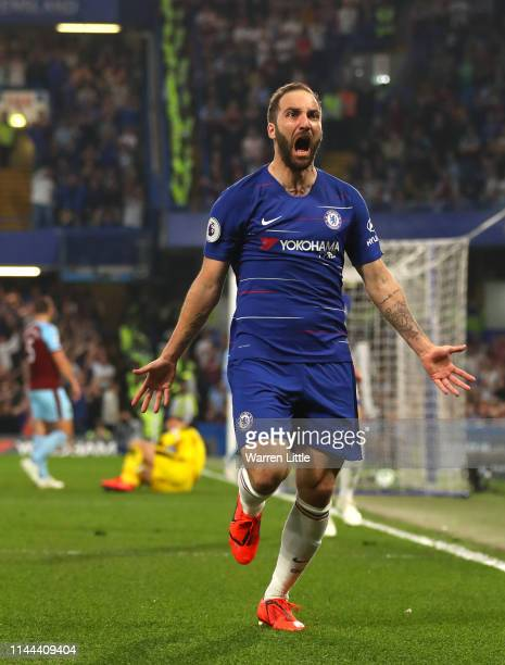 Gonzalo Higuain of Chelsea celebrates after scoring his sides second goal during the Premier League match between Chelsea FC and Burnley FC at...
