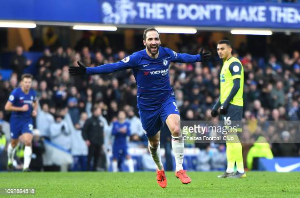 Gonzalo Higuain of Chelsea celebrates after scoring his team's fourth goal during the Premier League match between Chelsea FC and Huddersfield Town...