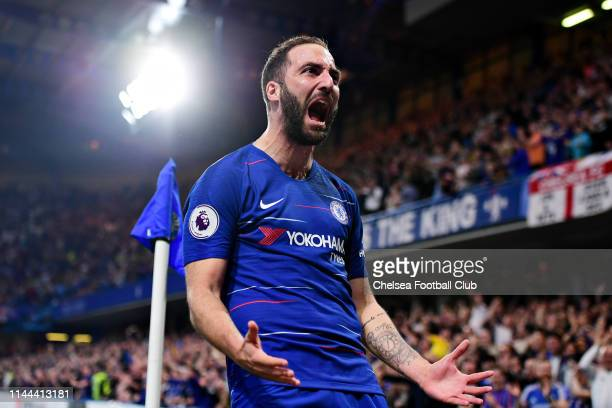 Gonzalo Higuain of Chelsea celebrates scoring his sides second goal during the Premier League match between Chelsea FC and Burnley FC at Stamford...