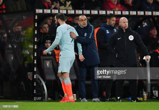 Gonzalo Higuain of Chelsea is embraced by Maurizio Sarri Manager of Chelsea as he is substituted during the Premier League match between AFC...