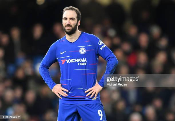Gonzalo Higuain of Chelsea looks on during the FA Cup Fifth Round match between Chelsea and Manchester United at Stamford Bridge on February 18, 2019...