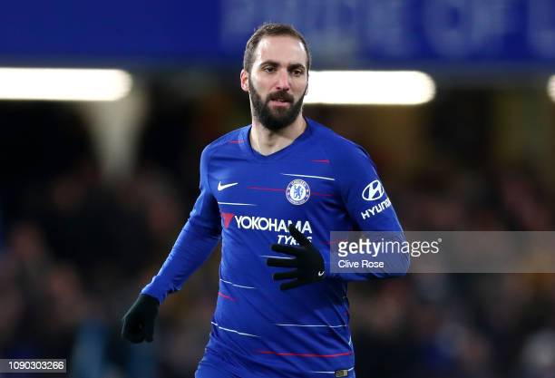 Gonzalo Higuain of Chelsea looks on during the FA Cup Fourth Round match between Chelsea and Sheffield Wednesday at Stamford Bridge on January 27...