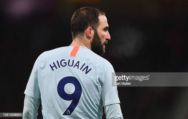 Gonzalo Higuain of Chelsea looks on during the Premier League match between AFC Bournemouth and Chelsea FC at Vitality Stadium on January 29 2019 in...