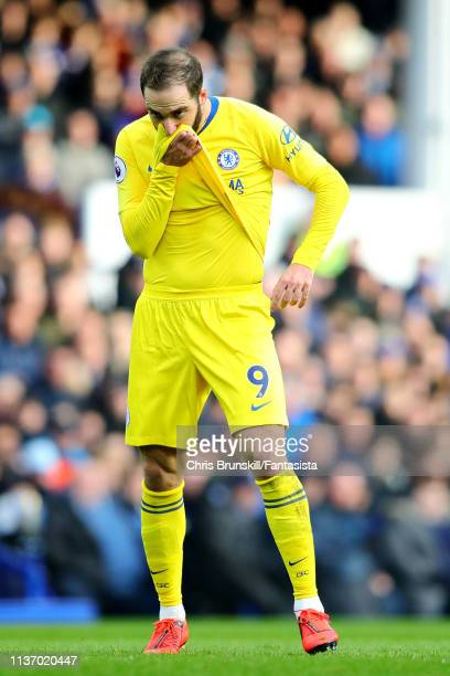 Gonzalo Higuain of Chelsea looks on during the Premier League match between Everton FC and Chelsea FC at Goodison Park on March 17 2019 in Liverpool...