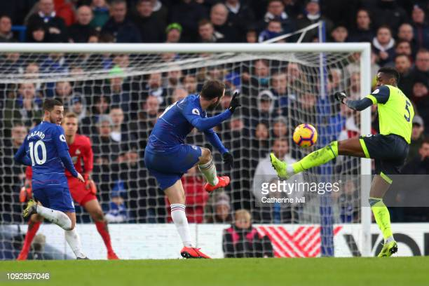 Gonzalo Higuain of Chelsea scores his team's fourth goal during the Premier League match between Chelsea FC and Huddersfield Town at Stamford Bridge...