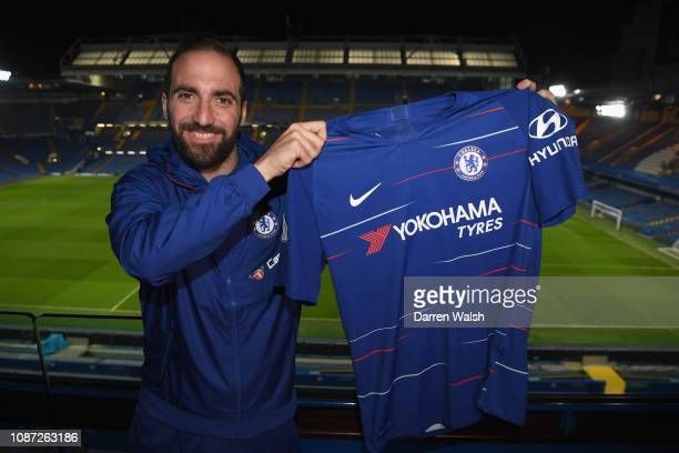Gonzalo Higuain of Chelsea signs for Chelsea at Stamford Bridge on January 23 2019 in London England