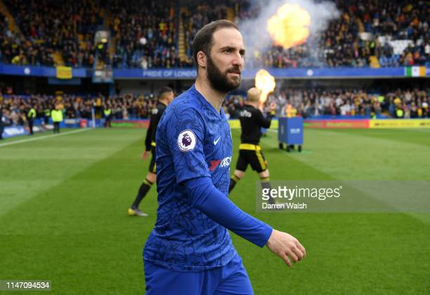 Gonzalo Higuain of Chelsea walks onto the pitch prior to the Premier League match between Chelsea FC and Watford FC at Stamford Bridge on May 05 2019...