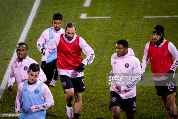 Gonzalo Higuain of Inter Miami CF runs with teammates during warm ups before the Major League Soccer match against Toronto FC in Pratt & Whitney...