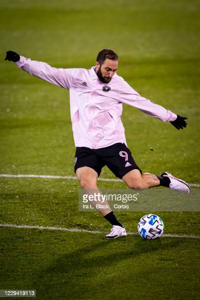Gonzalo Higuain of Inter Miami CF takes the shot on goal during warm ups before the Major League Soccer match against Toronto FC in Pratt & Whitney...