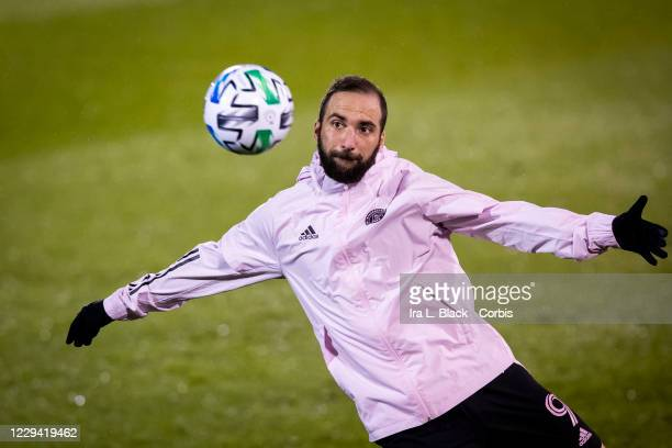 Gonzalo Higuain of Inter Miami CF warms up before the Major League Soccer match against Toronto FC in Pratt & Whitney Stadium at Rentschler Field on...