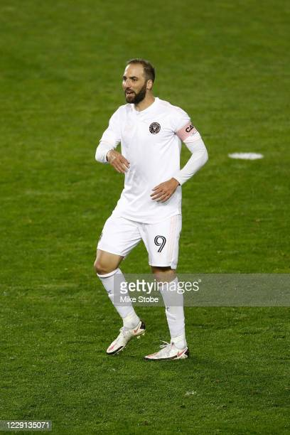 Gonzalo Higuain of Inter Miami in action against the Montreal Impact at Red Bull Arena on October 17, 2020 in Harrison, New Jersey. Montreal Impact...