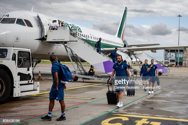 Gonzalo Higuain of Juventus arrives on August 4 2017 in London United Kingdom