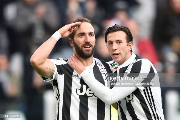 Gonzalo Higuain of Juventus celebrates after his goal togheter Federico Bernardeschi of Juventus during the serie A match between Juventus and US...