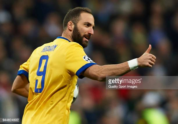 Gonzalo Higuain of Juventus celebrates after his teammate Mario Mandzukic scores his sides first goal during the UEFA Champions League Quarter Final...