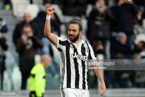 Gonzalo Higuain of Juventus celebrates after scoring a goal during the serie A match between Juventus and US Sassuolo on February 4 2018 in Turin...