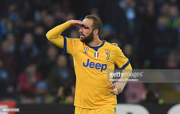Gonzalo Higuain of Juventus celebrates after scoring the 01 goal during the Serie A match between SSC Napoli and Juventus at Stadio San Paolo on...