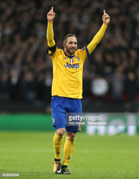 Gonzalo Higuain of Juventus celebrates during the UEFA Champions League Round of 16 Second Leg match between Tottenham Hotspur and Juventus at...