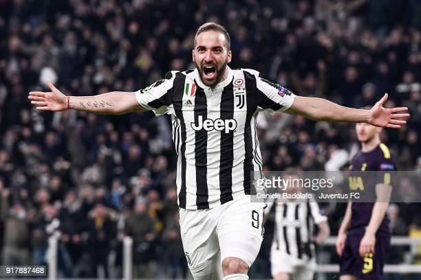 Gonzalo Higuain of Juventus celebrates his first goal during the UEFA Champions League Round of 16 First Leg match between Juventus and Tottenham...