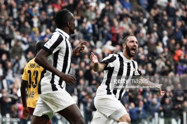 Gonzalo Higuain of Juventus celebrates his goal during the Serie A match between Juventus and Benevento Calcio on November 5 2017 in Turin Italy