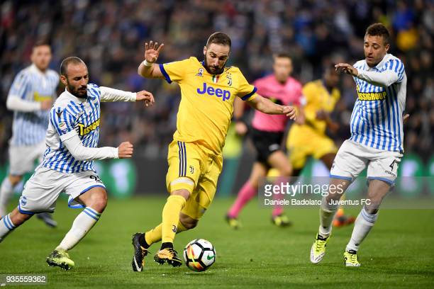Gonzalo Higuain of Juventus during the serie A match between Spal and Juventus at Stadio Paolo Mazza on March 17 2018 in Ferrara Italy