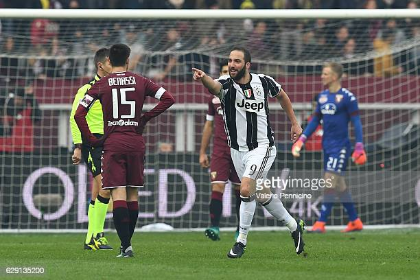Gonzalo Higuain of Juventus FC celebrates a goal during the Serie A match between FC Torino and Juventus FC at Stadio Olimpico di Torino on December...