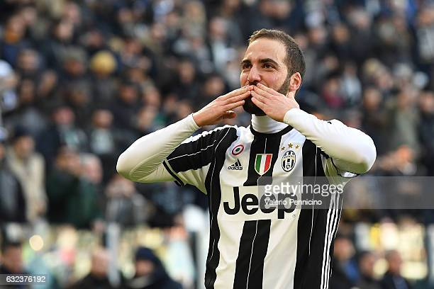 Gonzalo Higuain of Juventus FC celebrates a goal during the Serie A match between Juventus FC and SS Lazio at Juventus Stadium on January 22, 2017 in...