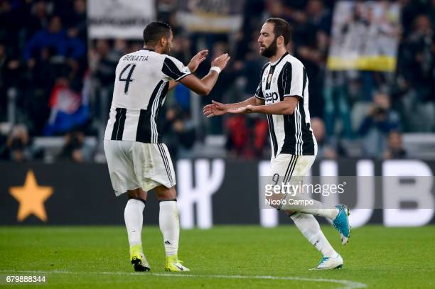 Gonzalo Higuain of Juventus FC celebrates after scoring a goal during the Serie A football match between Juventus FC and Torino FC Final result is 11
