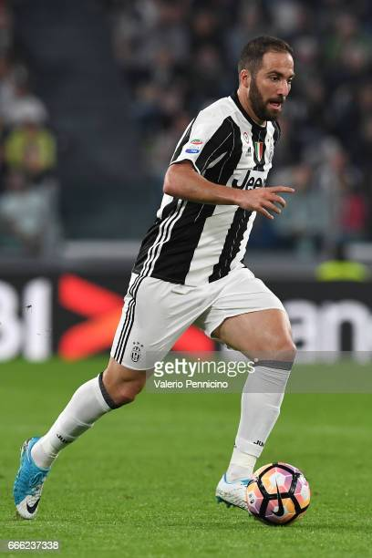 Gonzalo Higuain of Juventus FC in action during the Serie A match between Juventus FC and AC ChievoVerona at Juventus Stadium on April 8 2017 in...