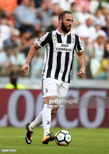 Gonzalo Higuain of Juventus FC in action during the Serie A match between Juventus and Cagliari Calcio at Allianz Stadium on August 19 2017 in Turin...