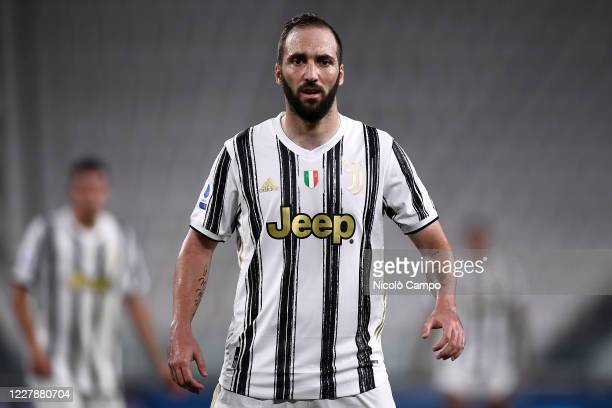 Gonzalo Higuain of Juventus FC looks on during the Serie A football match between Juventus FC and AS Roma. AS Roma won 3-1 over Juventus FC.