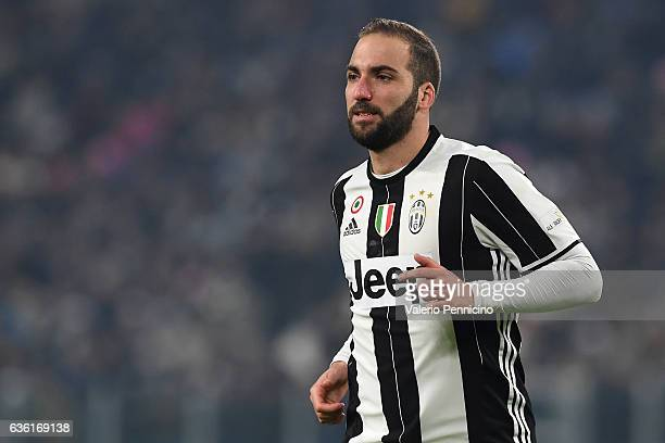 Gonzalo Higuain of Juventus FC looks on during the Serie A match between Juventus FC and AS Roma at Juventus Stadium on December 17 2016 in Turin...