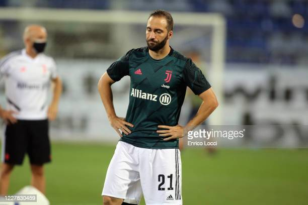 Gonzalo Higuain of Juventus gestures prior the Serie A match between Cagliari Calcio and Juventus at Sardegna Arena on July 29, 2020 in Cagliari,...
