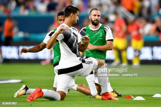 Gonzalo Higuain of Juventus in action before the International Champions Cup 2017 match between Paris Saint Germain and Juventus at Hard Rock Stadium...