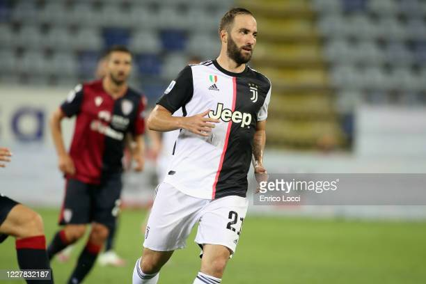 Gonzalo Higuain of Juventus in action during the Serie A match between Cagliari Calcio and Juventus at Sardegna Arena on July 29, 2020 in Cagliari,...