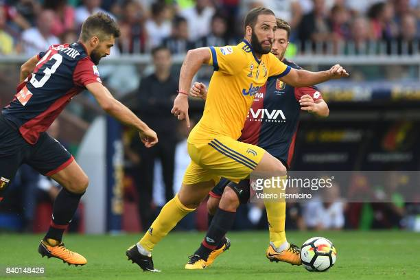 Gonzalo Higuain of Juventus in action during the Serie A match between Genoa CFC and Juventus at Stadio Luigi Ferraris on August 26 2017 in Genoa...