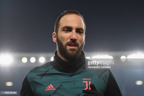 Gonzalo Higuain of Juventus looks on during the Serie A match between Hellas Verona and Juventus at Stadio Marcantonio Bentegodi on February 8, 2020...
