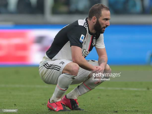 Gonzalo Higuain of Juventus looks on during the Serie A match between Juventus and Brescia Calcio at Allianz Stadium on February 16 2020 in Turin...