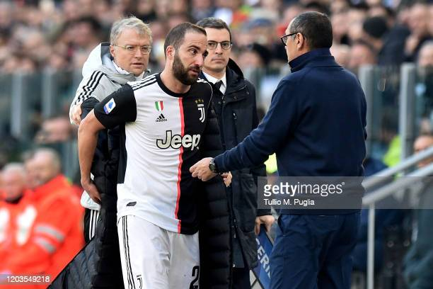 Gonzalo Higuain of Juventus reacts to his substitution by Head Coach Maurizio Sarri during the Serie A match between Juventus and ACF Fiorentina at...