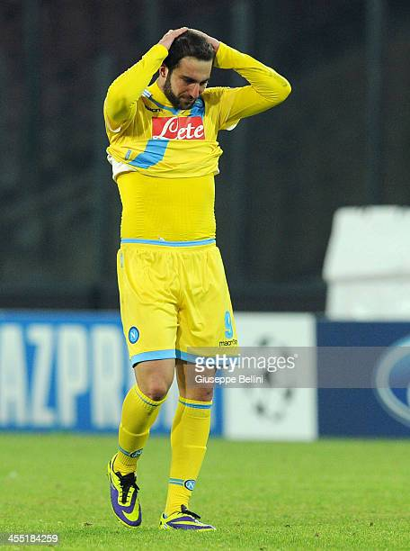 Gonzalo Higuain of Napoli after the UEFA Champions League Group F match between SSC Napoli and Arsenal at Stadio San Paolo on December 11 2013 in...