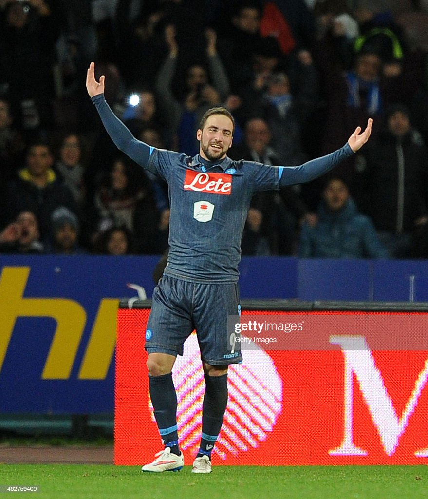 Gonzalo Higuain of Napoli celebrates after scoring the first goal during the TIM CUP match between SSC Napoli and FC Internazionale at the San Paolo Stadium on February 4, 2015 in Naples, Italy.