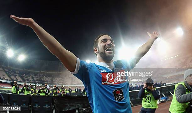 Gonzalo Higuain of Napoli celebrates after the Serie A match between SSC Napoli and US Sassuolo Calcio at Stadio San Paolo on January 16 2016 in...