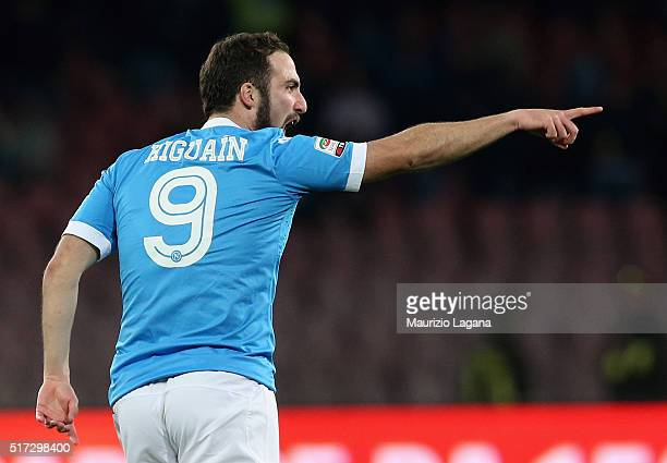 Gonzalo Higuain of Napoli celebrates his goal during the Serie A match between SSC Napoli and Genoa CFC at Stadio San Paolo on March 20 2016 in...