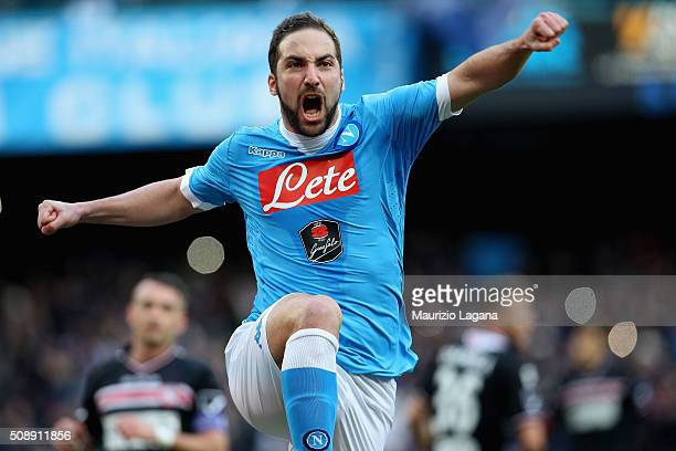 Gonzalo Higuain of Napoli celebrates the opening goal during the Serie A match between SSC Napoli and Carpi FC at Stadio San Paolo on February 7,...