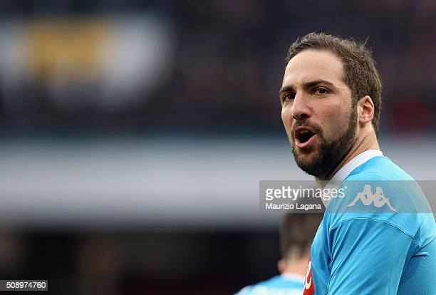 Gonzalo Higuain of Napoli during the Serie A match between SSC Napoli and Carpi FC at Stadio San Paolo on February 7 2016 in Naples Italy