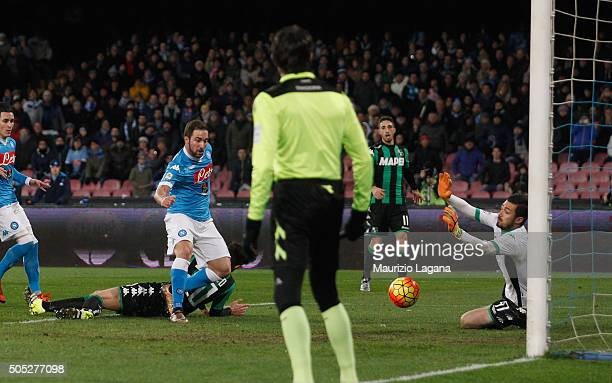 Gonzalo Higuain of Napoli scores his team's second goal during the Serie A match between SSC Napoli and US Sassuolo Calcio at Stadio San Paolo on...