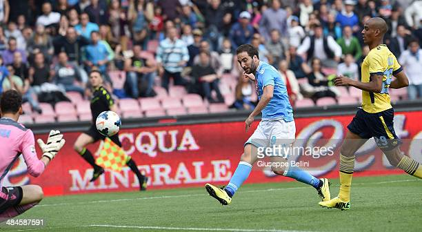 Gonzalo Higuain of Napoli scores the goal 31 during the Serie A match between SSC Napoli and SS Lazio at Stadio San Paolo on April 13 2014 in Naples...
