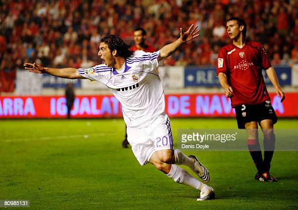 Gonzalo Higuain of Real Madrid celebrates after scoring Real's second goal during the La Liga match between Osasuna and Real Madrid at the Reyno de...