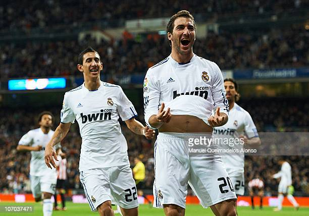 Gonzalo Higuain of Real Madrid celebrates after scoring the 10 during the la liga match between Real Madrid and Athletic Bilbao at Estadio Santiago...